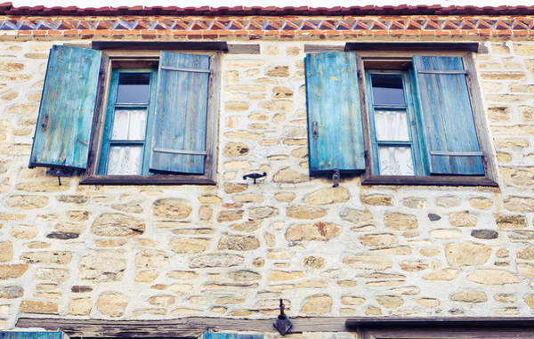 Window Photograph - Blue Shutters by Tom Gowanlock