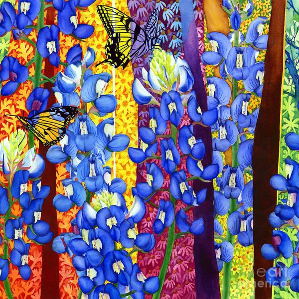 State Flower Wall Art - Painting - Bluebonnet Garden by Hailey E Herrera