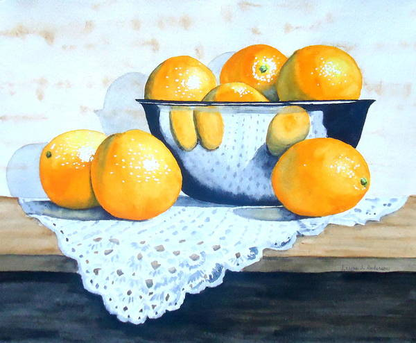 Doily Painting - Bowl Of Oranges by Laurie Anderson