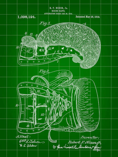 Count Digital Art - Boxing Glove Patent 1914 - Green by Stephen Younts