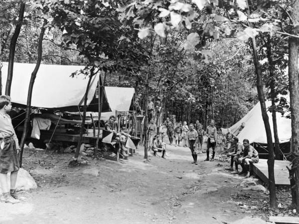 Lean-tos Photograph - Boy Scout Camp, C1919 by Granger