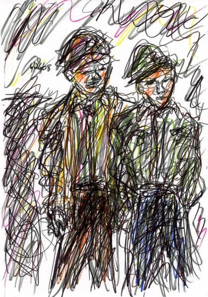 Drawing - Boys Near Wall by Rachel Scott