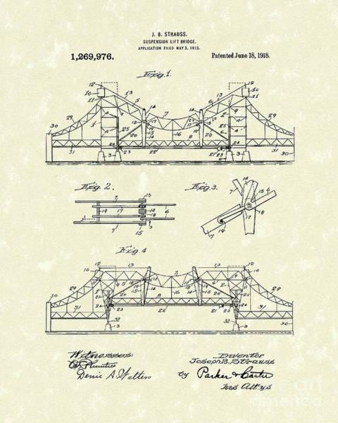 Wall Art - Drawing - Bridge 1918 Patent Art by Prior Art Design