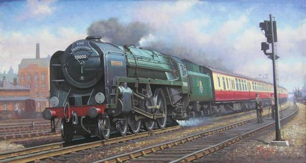 Vintage Train Painting - Britannia Pacific. by Mike Jeffries