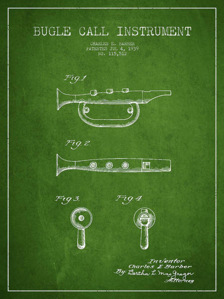 Bugling Wall Art - Digital Art - Bugle Call Instrument Patent Drawing From 1939 - Green by Aged Pixel