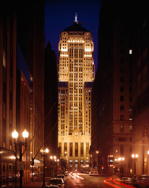 Long Tail Photograph - Buildings Lit Up At Night, Chicago by Panoramic Images