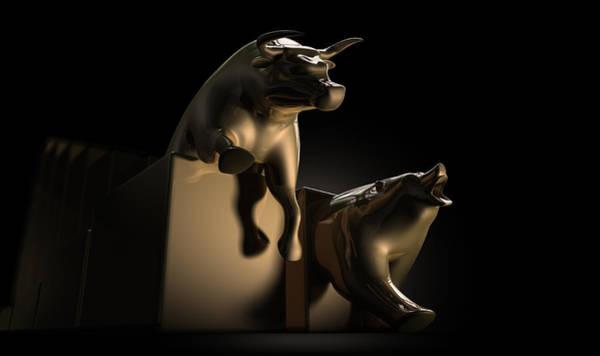 Contrast Digital Art - Bull And Bear Stock Market Statues by Allan Swart