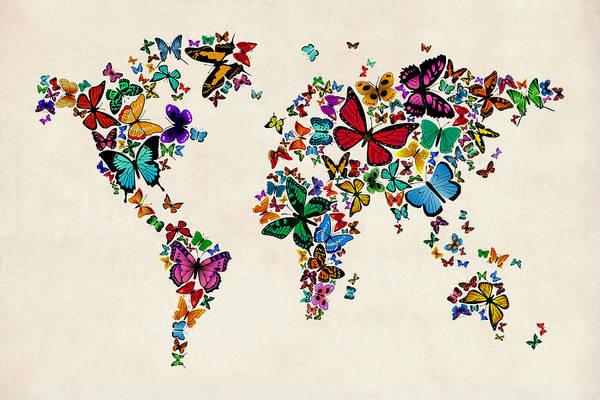 World Travel Digital Art - Butterflies Map Of The World by Michael Tompsett