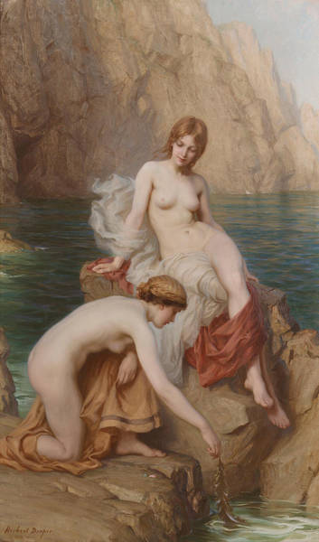 Wall Art - Painting - By Summer Seas by Herbert James Draper
