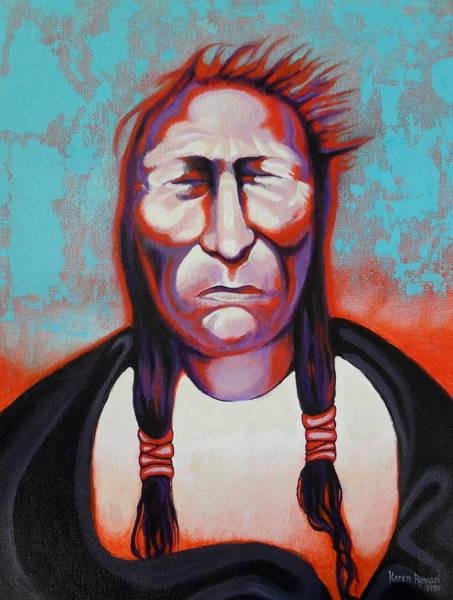Native American Blanket Painting - Cadmium Red Man by Karen Roncari