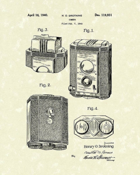 Drawing - Camera 1940 Patent Art by Prior Art Design