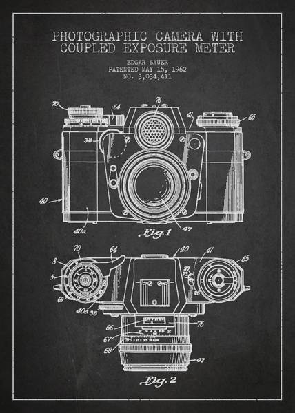 Lens Digital Art - Camera Patent Drawing From 1962 by Aged Pixel