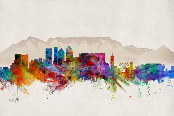 Watercolour Digital Art - Cape Town South Africa Skyline by Michael Tompsett