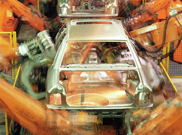 Manufacturing Wall Art - Photograph - Car Production Line Robots by Maximilian Stock Ltd/science Photo Library