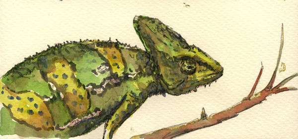 Exotic Painting - Chameleon by Juan  Bosco