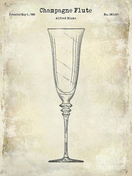 Dom Wall Art - Photograph - Champagne Flute Patent Drawing  by Jon Neidert