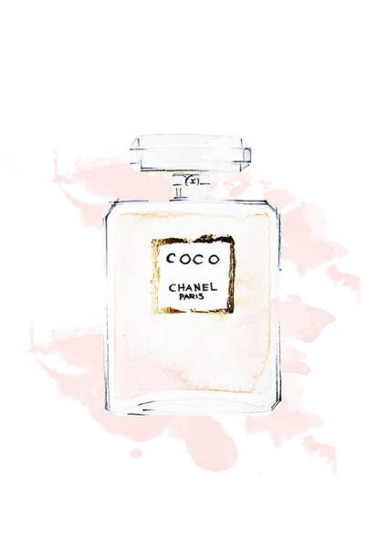 Chanel Painting - Chanel Perfume, Watercolor Fashion Illustration  by Koma Art