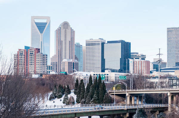 Photograph - Charlotte Nc Skyline Covered In Snow In January 2014 by Alex Grichenko