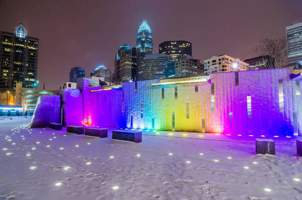 Charlotte Queen City Skyline Near Romare Bearden Park In Winter Snow Art Print