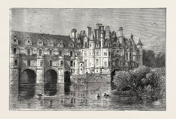 Chateau Drawing - Chenonceaux, Chateau De Chenonceau, France by French School