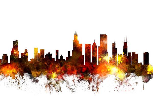 United Digital Art - Chicago Illinois Skyline by Michael Tompsett