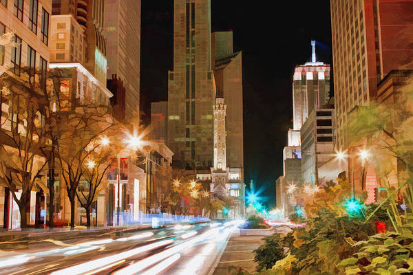 Painting - Chicago Michigan Avenue Light Streak by Christopher Arndt