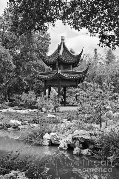 Chinese Pavilion Photograph - Chinese Garden With Pagoda And Lake. by Jamie Pham