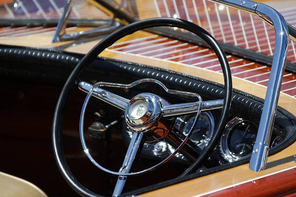 Photograph - Chris Craft Steering Wheel by Steven Lapkin