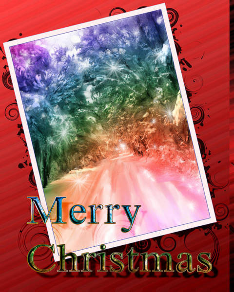 Digital Art - Merry Christmas Lighted Path by Susan Kinney