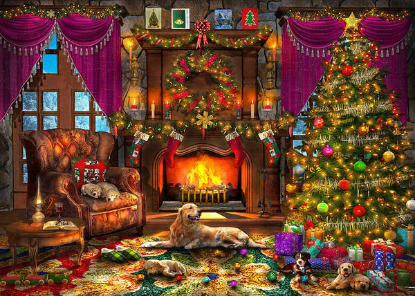 Wall Art - Painting - Christmas Puppies by MGL Meiklejohn Graphics Licensing