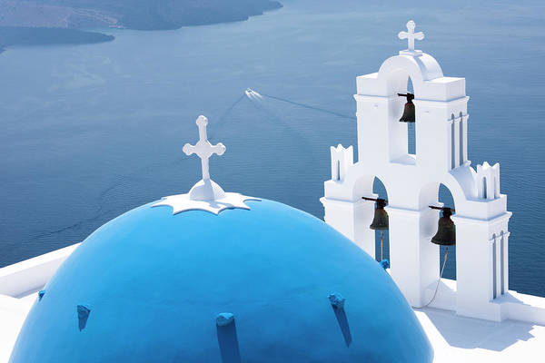 Tower Of David Photograph - Church Domes, Santorini, Greece by David Clapp
