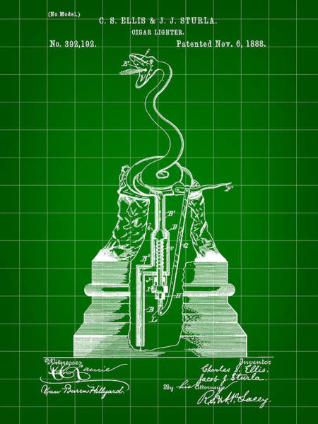 Indonesia Digital Art - Cigar Lighter Patent 1888 - Green by Stephen Younts