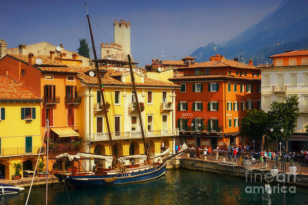 Photograph - Classic Sailing Boat In A Harbour With The Alps In The Backgroun by Nick  Biemans