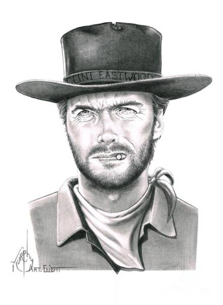 Clint Eastwood Drawing - Clint Eastwood by Murphy Elliott