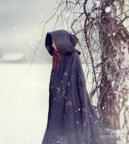 Photograph - Closeup Of Woman In Cape Walking In Snow by Sandra Cunningham