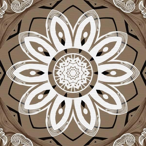 Digital Art - Coffee Flowers 8 Olive Ornate Medallion by Angelina Tamez