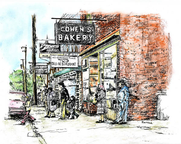 Catskill Drawing - Cohen's Bakery by Monica Cohen