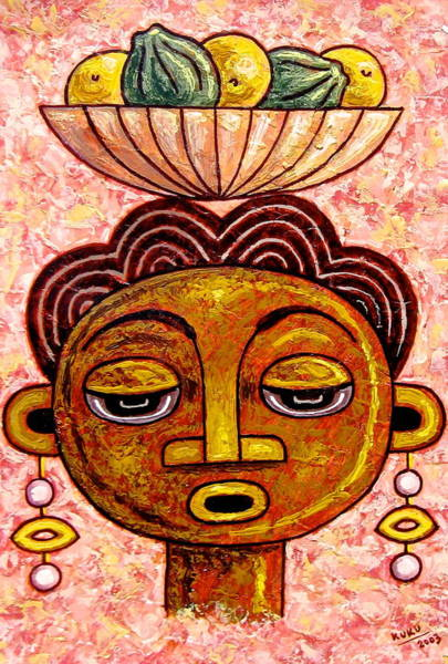 Painting - Congalese Face 2 by Kuku