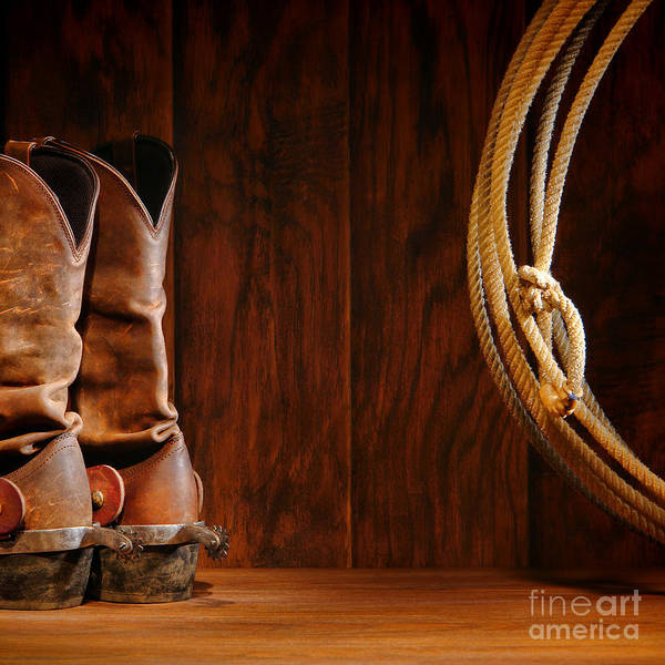 Roping Photograph - Cowboy Boots And Lasso Lariat by Olivier Le Queinec