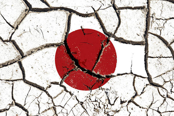 Crevice Mixed Media - Cracked Japan Flag by Roman Milert