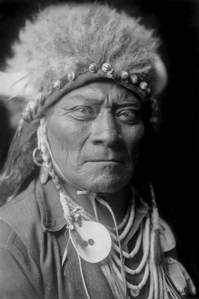 Indigenous Wall Art - Photograph - Crow Indian Man Circa 1908 by Aged Pixel