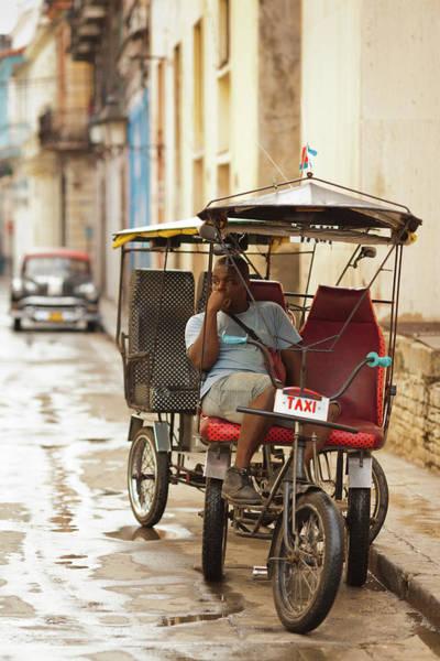 Cuba, Havana, Havana Vieja, Pedal Taxi Art Print