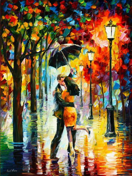 Handmade Wall Art - Painting - Dance Under The Rain by Leonid Afremov