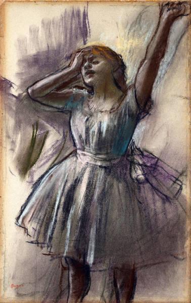 Impressionistic Drawing - Dancer Stretching by Edgar Degas