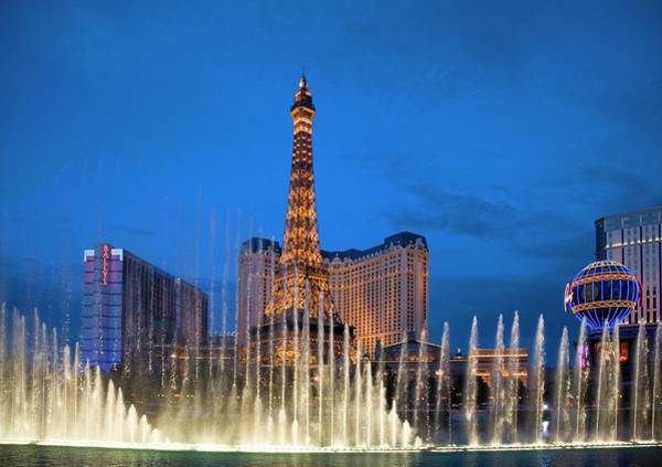 Bellagio Hotel Photograph - Dancing Fountains by Jim West