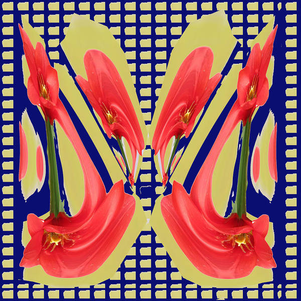 Processing Mixed Media - Dancing Tulip Red Exotic Flower Petal Based Wave Pattern  Created By Navinjoshi Reiki Healing Master by Navin Joshi