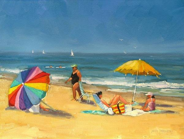 Wall Art - Painting - Day At The Beach by Laura Lee Zanghetti
