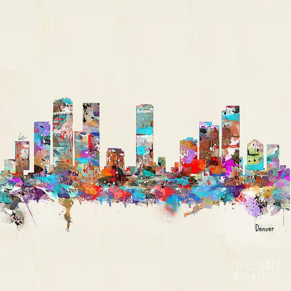 Office Decor Painting - Denver Colorado Skyline  by Bri Buckley