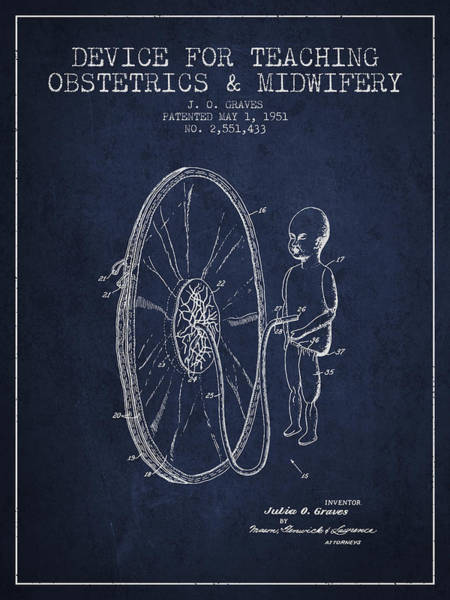 Birth Digital Art - Device For Teaching Obstetrics And Midwifery Patent From 1951 -  by Aged Pixel