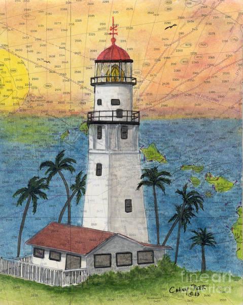 Wall Art - Painting - Diamond Head Lighthouse Hi Nautical Chart Map Art by Cathy Peek